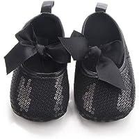 Nagodu Zapatos Casual Formal de Vestir para niña Negros de Lentejuelas con moñito Negro, Hermosos Zapatitos, Diferentes Tallas