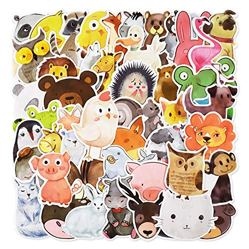 Laptop Stickers, Water Bottle Stickers for Laptop Water Bottles Hydro flask Car Bumper Skateboard Guitar Luggage Waterproof Vinyl Decal Cool Graffiti Stickers Pack (50 Pcs Ink Cartoon Animal Sticker)