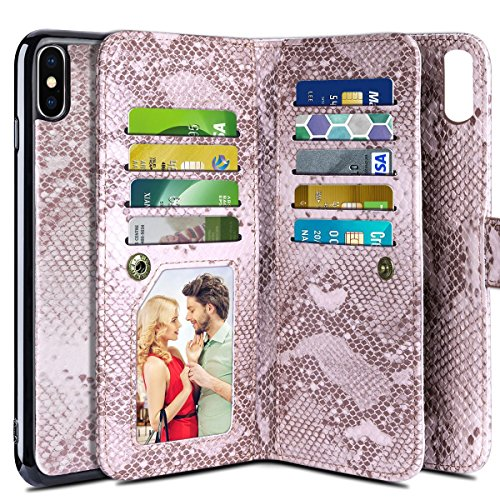 iPhone X Case, Vofolen 2 in 1 iPhone X Wallet Case Snakeskin Grain Folio Flip PU Leather Case Protective Shell Magnetic Detachable Slim Cover Card Holder Slot Wristband for iPhone (Snakeskin Protector Case)