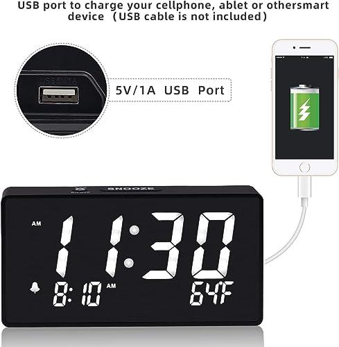 Alarm Clocks for Bedrooms, 5.5 Inch White Digit Display with Adjustable Brightness Dimmer, Temperature Display, 12 24Hr, Snooze, Adjustable Alarm Volume, Sleep Timer.