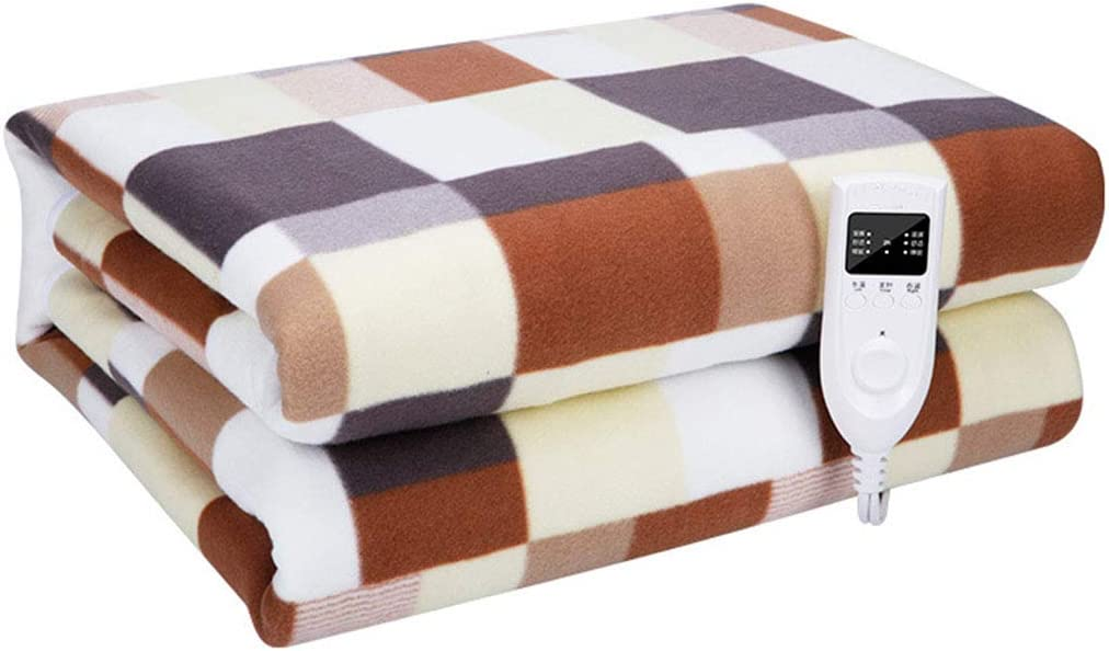 XIALIUXIA Plaid Electric Blanket/Fast Heating Soft Heated Throw Blanket /3 Heating Levels/2 Hours Auto Off Machine Washable Home Office Bed Sofa,B,21.8M