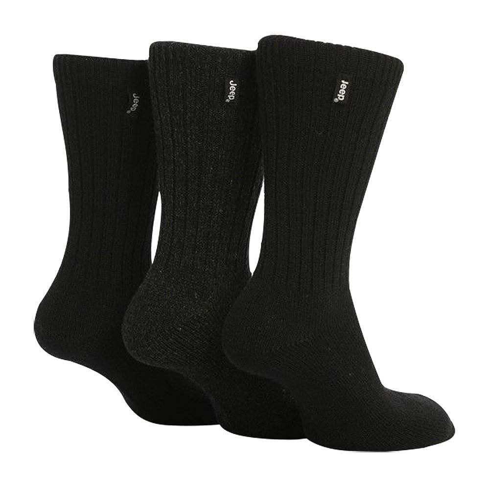 Jeep - 3 pares calcetines lana hombre senderismo caminar en negro y marrón JEEPWOOL_9021