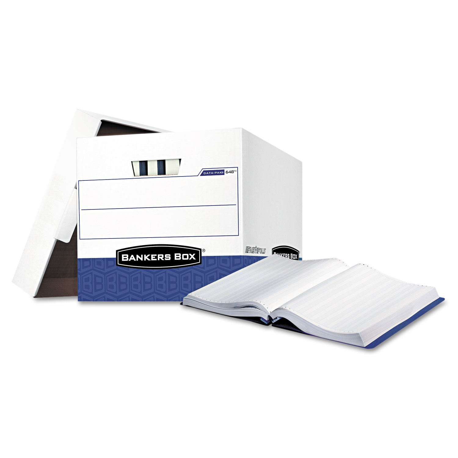 Bankers Boxamp;reg; - Data-Pak Storage Box, 12-3/4 x 16 x 12-1/2, White/Blue, 12/Ctn - Sold As 1 Carton - Ideal for stacking and storing computer printout binders.