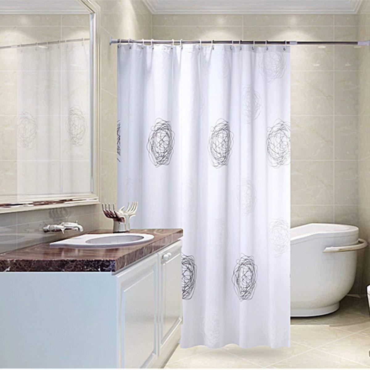Der Chinese Garden Style Opaque Sunshade Thickened EVA Bathroom Free Punch Shower Curtain Waterproof Mildew Bathroom Accessories (Size : 180cm180cm)