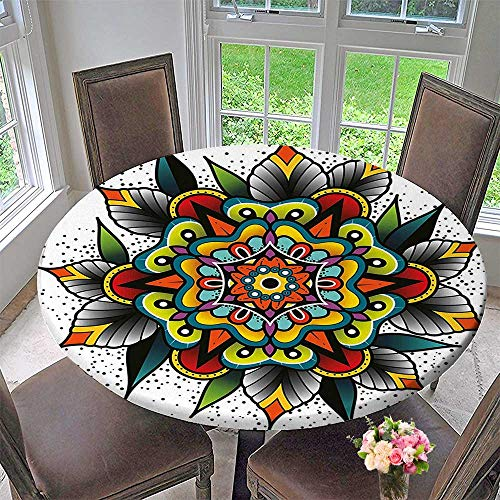 Round Tablecloths Old School Motif with Flowers Leaves and Internal Mandala Figure Artisan Design Multi or Everyday Dinner, Parties 40