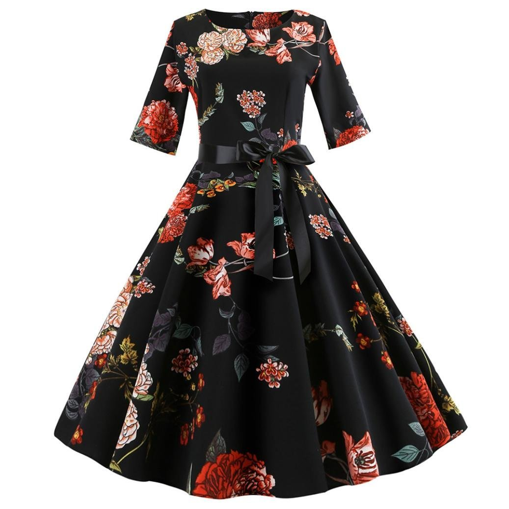 Women Party Dress Promotion!Rakkiss Dance Swing Dress Vintage Print Sleeve Casual Evening Dress with Belt