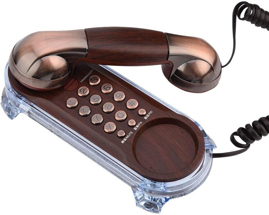 Antique Telephone Corded Elegant Phone Retro Style Trimline Telephones Landline with Metal Buttons Blue Incoming-Call Flashlight for Home Hotel(Red Copper)