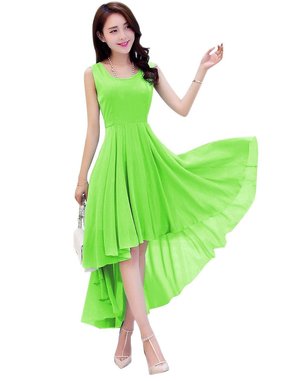 Lime Green Dasior Women's ALine Asymmetric High Low Summer Beach Holiday Party Dress