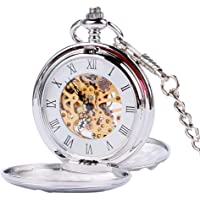 Men's Pocket Watch, Silver Smooth Double Full Hunter Mechanical Pocket Watch, Gift for Men