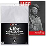 "BCW Supplies Life Magazine Bags 100 Bags 11-1/8"" x 14-1/4"" + 1-1/4"
