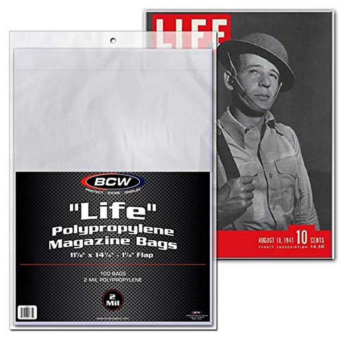 "LIFE"" Magazine Bags 100 bags 11-1/8"" x 14-1/4"" + 1-1/4"