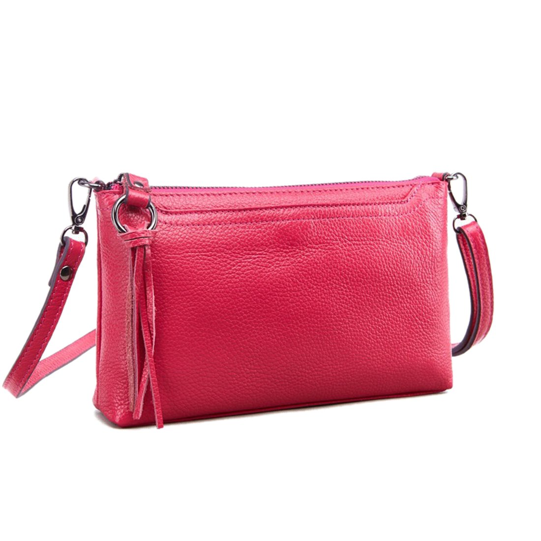Artwell Women Genuine Leather Crossbody Bag Small Shoulder Bag Zipper Clutch Phone Wallet Purse for Lady (Rose)