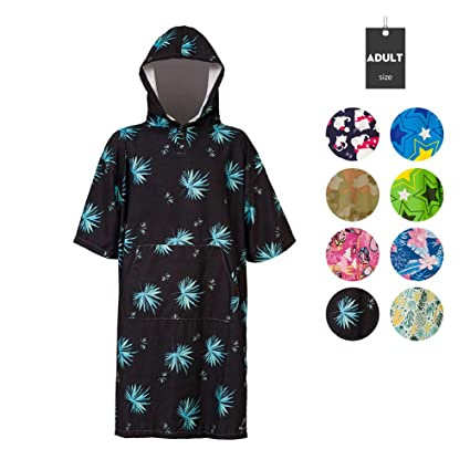 128237f1981 Amazon.com: Runpilot Beach Surf Poncho Changing Towel Robe with Hood Pocket  for Surfing Swimming Bathing Adults Men Women: Home & Kitchen