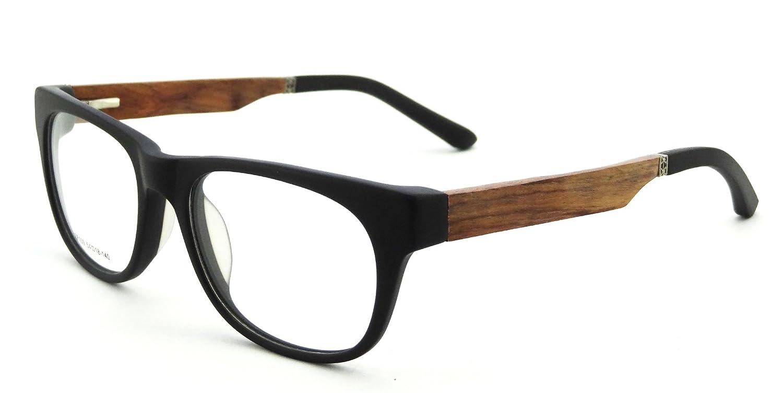 6cbcc9b3f2cf Amazon.com  New Acetate Eyeglasses Trendy and Classic Optical Frame Eyewear  Wood Glasses-ZF109 (Matte Black Acetate+red Pear+matte Black Rubber)   Clothing