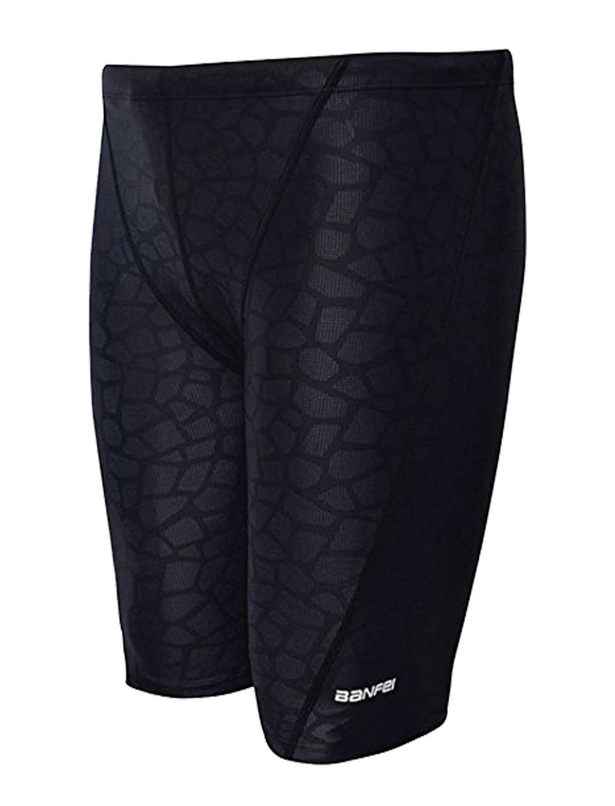 IMATE Men's Quick Dry Solid Square Leg Swimsuit (US XS/Tag L (Waist 27-29''), Black Prints)... by IMATE