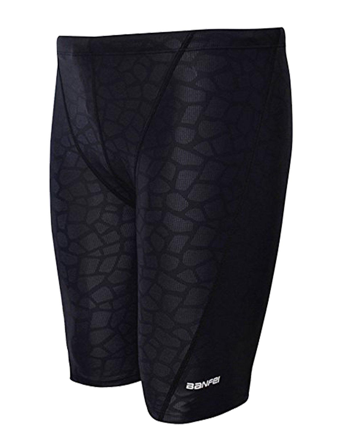 Men's Quick Dry Solid Square Leg Swimsuit (US S/Tag XL (Waist 30-32''), Black Prints)…