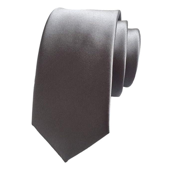 COMVIP 6cm Cravate Fine Homme Uni en Polyester Mode pour Mariage Affaires  Argenté Gris 845f188eea3