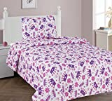GorgeousHome CROWN PURPLE Design Bedding Complete Set For Girls (2PC TWIN QUILT SET)