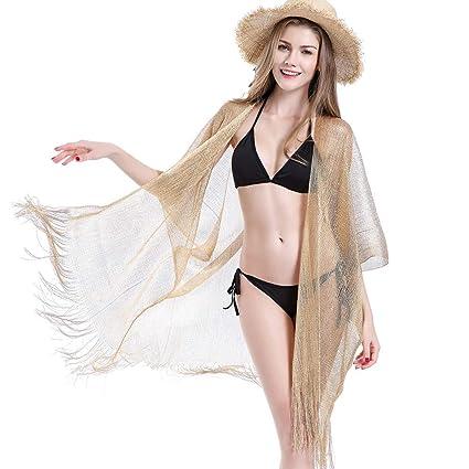 ce397eceaa4 Women's Kimono Cardigan Woven Cover Up Spun Gold Bathing Suit Beach Bikini  Swimsuit Long Maxi Half