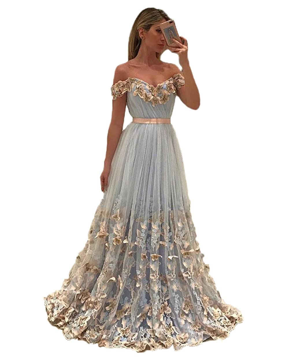 Uryouthstyle 2017 Off Shoulder Long A-line Prom Dresses with Butterfly