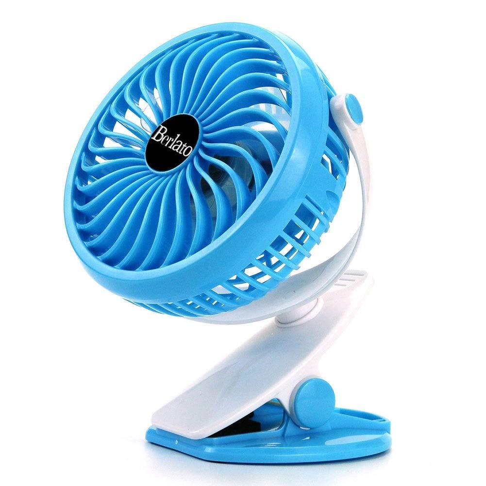 LKK Cooling Fan Clip On Stroller Fan Rechargeable 2600mAh Battery For Baby Stroller Crib Kitchen Office Pram Car Seat Color : Blue Pushchair