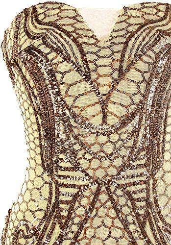 Paillette donne fashions pavimento Lunghezza delle spalline del Oro del Colonna senza del fodero vestito Dentellato Angel wCIqUAB