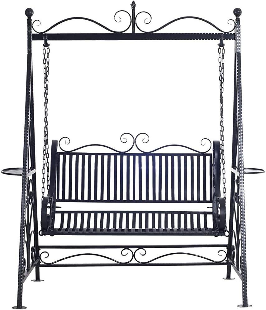 Terraza al aire libre del jardín del metal de hierro fundido estilo retro silla balancín banco hamaca - negro,Black