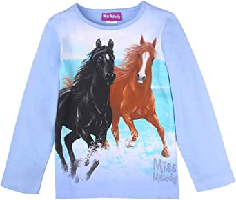 Miss Melody niñas Camiseta, T-Shirt, Manga Larga, Azul