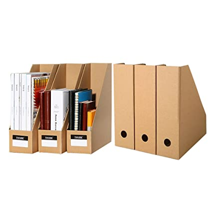 6 Pack File Magazine Holder, Desk Storage Organizer For Office Home, Kraft  Paper
