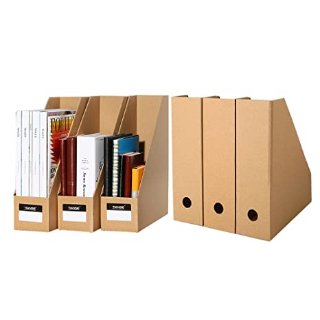 6 Pack File Magazine Holder, Desk Storage Organizer for Office Home, Kraft Paper - Eco-Friendly, Prefect for Customizing Special Storage Holder TIANSE