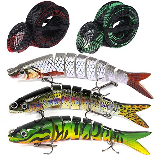 Bass Fishing Lures Multi Jointed Hard Crankbaits Topwater Life-like Trout Swimbait fit Saltwater and Freshwater with Fishing Pole Glove