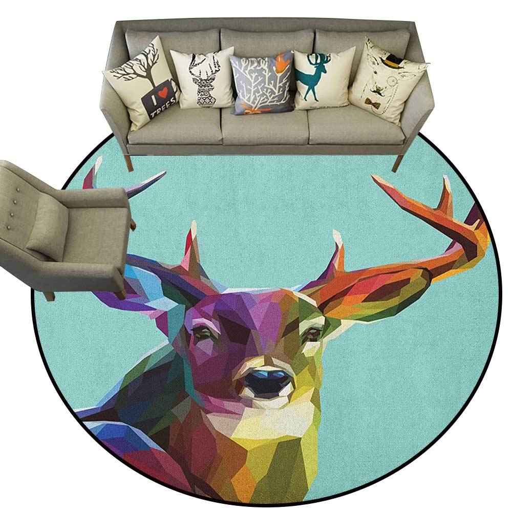 Style06 Diameter 72(inch& xFF09; Deer,Personalized Floor mats Illustration of Male Stag with Soft Pale colors Antlers Wildlife Nature Artful Print D54 Floor Mat Entrance Doormat