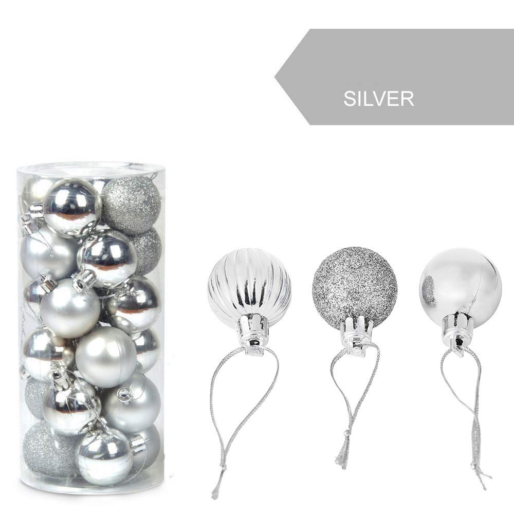 Tuscom 24Pcs/Pack 30mm Christmas Xmas Tree Ball, 8.8x6x11.8cm Glitter Baubles Balls for Home Party Ornament Decorations (10 Colors) (Silver)