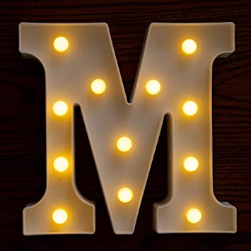 Yorulory LED Letter Lights Sign Letters Light Up Letters Sign for Night Light Wedding Birthday Party Battery Powered Christmas Lamp Home Bar (M