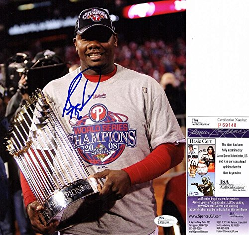 (Autographed Ryan Howard Photo - 8x10 2008 World Series Champion Certificate of Authenticity - JSA Certified)