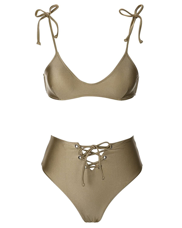 Champagne SEARTIST Falbala Flounced High Waisted Bikini, Two Piece Swimsuit for Women