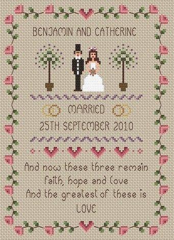 Faith, Hope, Love Wedding Sampler Cross Stitch Kit
