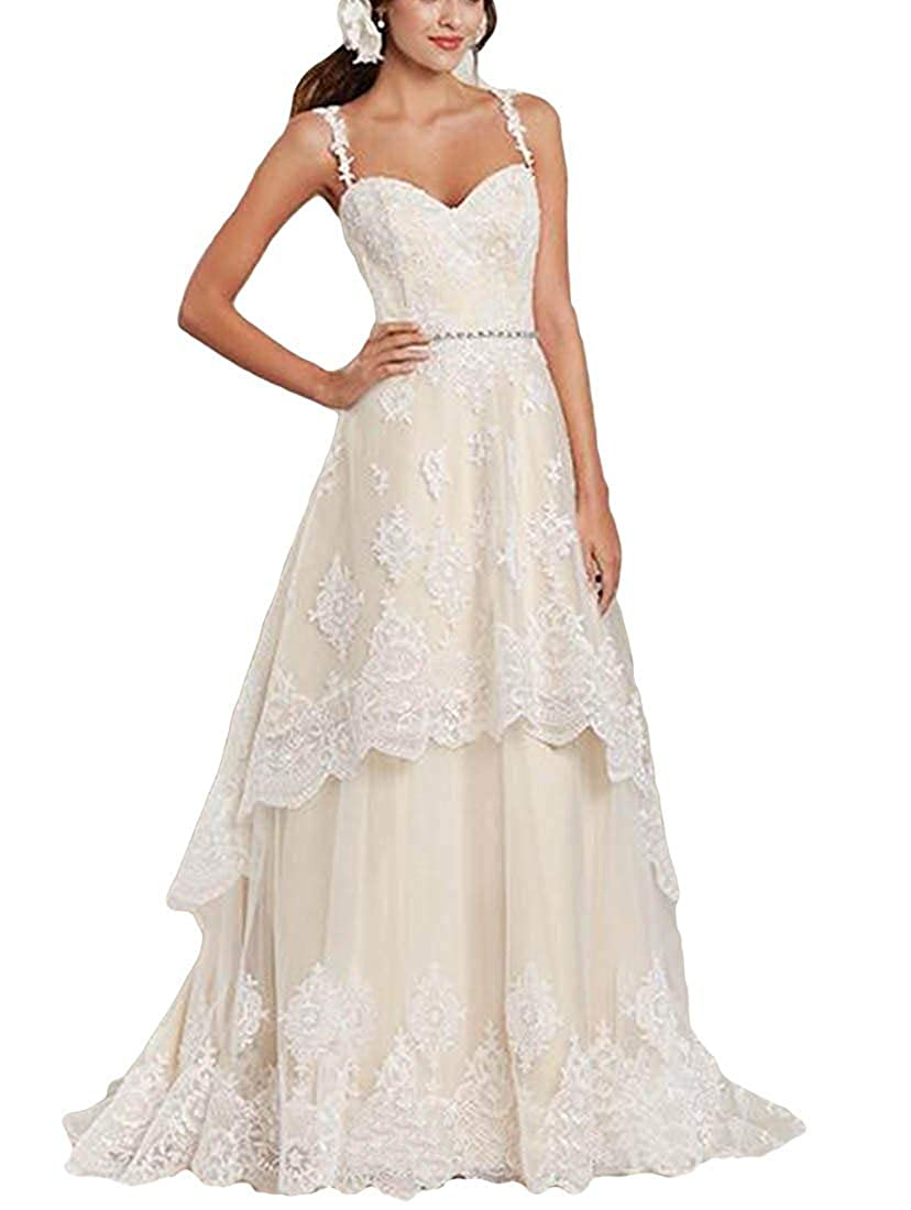 DressyMe Womens 2018 Wedding Dresses Spaghetti Sweetheart Floral Lace