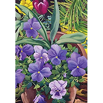 Toland Home Garden Flowerpots n Pansies 28 x 40 Inch Decorative Spring Potted Pansy Flower House Flag