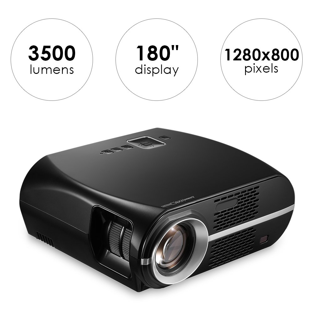 GP100 Video Projector 3500 Lumens, Mesuvida LCD Projector 1080P Full-HD Multimedia Home Theater Projector Support HDMI USB VGA AV Audio Out for Home Movie Video Games Backyard Cinema by Mesuvida