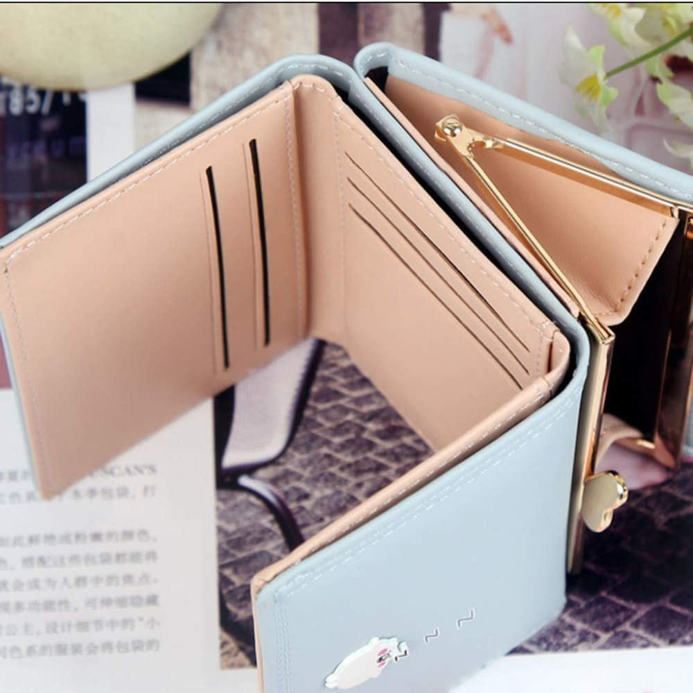 Color: Light Blue Gimax Coin Purses Fashion Ladies Lovely Short Wallets Three Fold Wallets Candy Color Small Coin Purse Card Holder Purse Dames Portemonnee