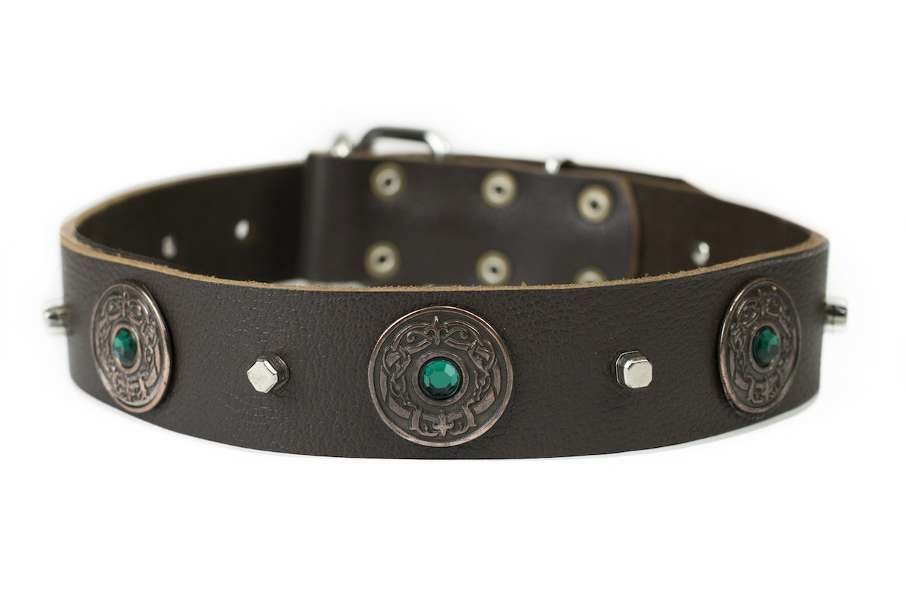 Dean and Tyler  DRAGON EYE  Dog Collar With Nickel Buckle Brown Size 46cm By 4cm Width. Fits neck size 16 Inches to 20 Inches.