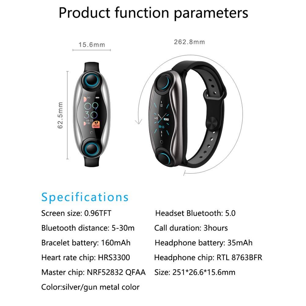Yiwa Braccialetto Intelligente con Auricolari Wireless per LEMFO LT04