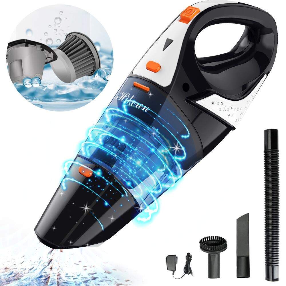 Hikeren Handheld Vacuum, Hand Vacuum Cordless with High Power, Mini Vacuum Cleaner Handheld Powered by Li-ion Battery Rechargeable Quick Charge Tech, for Home and Car Cleaning, Wet & Dry-Orange by Hikeren