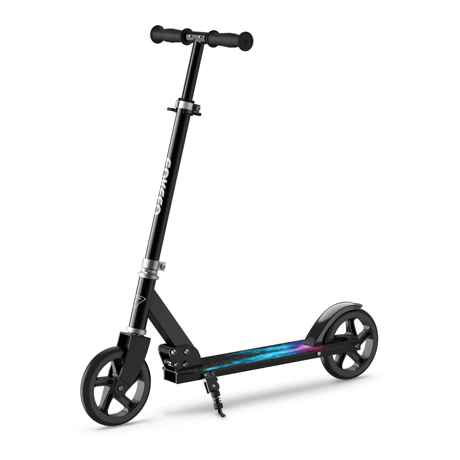 ENKEEO Kick Scooter with 220 lbs Capacity, Height Adjustable Handlebar and Oversized Wheels, Smart Brake System, Foldable Commuter Scooter for Kids, Adult (Black)