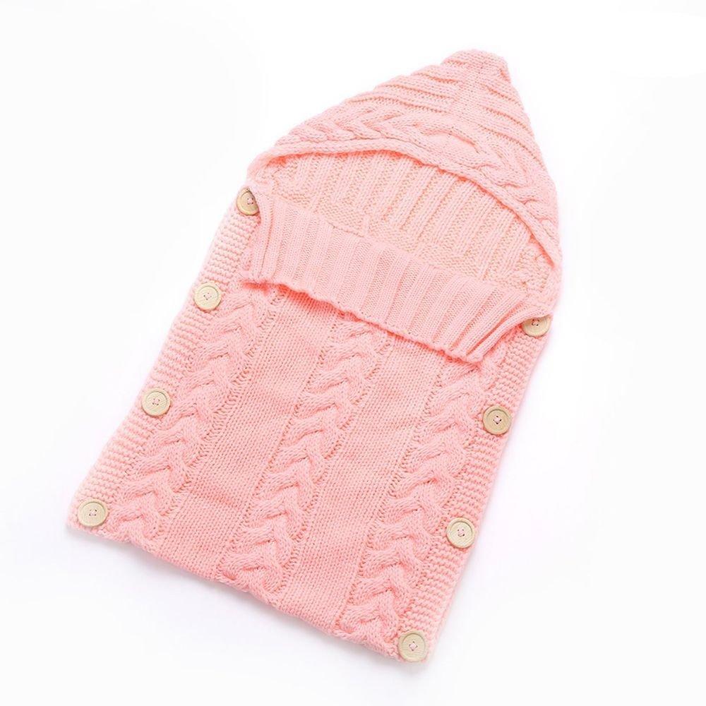 Manta para beb/é reci/én nacido saco de dormir para rellenar de punto de ganchillo coleccionista rosa rosa