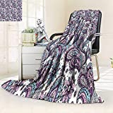 YOYI-HOME Digital Printing Duplex Printed Blanket Paisley Blue and Purple Large Flowers Leaves Floral Bohemian Style Country Rectangular Summer Quilt Comforter/47 W by 79'' H