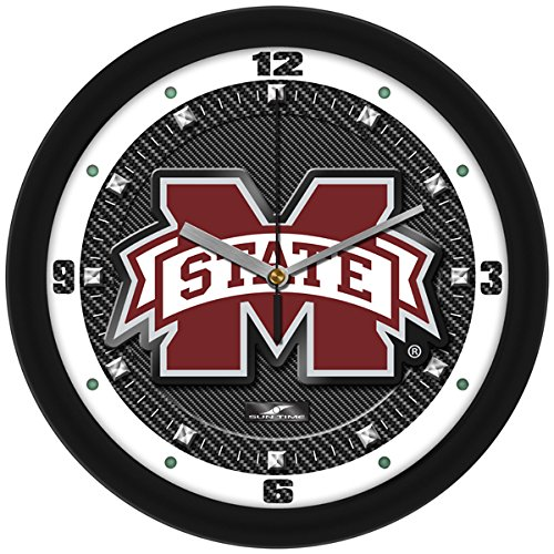 SunTime NCAA Mississippi State Bulldogs Textured Carbon Fiber Wall (Bulldogs Round Clock)