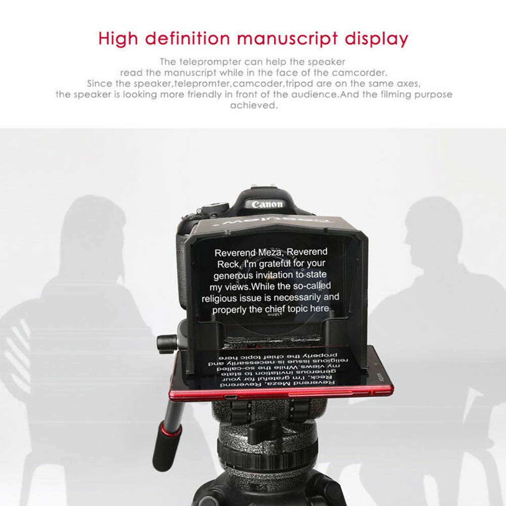 yodaliy Teleprompter Set T1 Forum Phone Use Photo Studio High Definition DSLR Camera Professional Portable Mini with Adapter Ring ABS Easy Operate Practical Interview