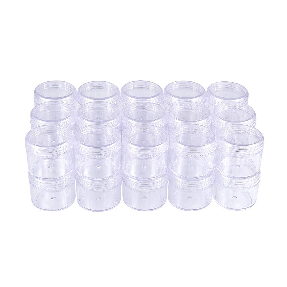 BENECREAT 30 Pack 1.5x0.8 (15ml) Empty Clear Plastic Bead Storage Container jar with Rounded Screw-Top Lids for Beads, Nail Art, Glitter, Make Up, Cosmetics and Travel Cream CON-BC0003-02-US